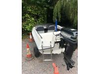 Super Simms V Speedboat with Outboard Trailer