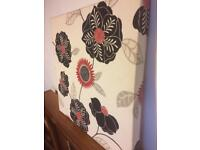 Statement Black and red flowers fabric canvas