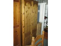 MODERN ORNATE SOLID PINE DOUBLE WARDROBE.LOCK & KEY. HANGING RAIL. VIEW/DELIVERY AVAILABLE