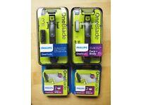 New and Unopened Philips OneBlade Shaving Set inc. 2x Shavers and 2x Razor Packs