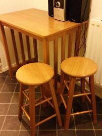 For sale Wooden table and 2 stools