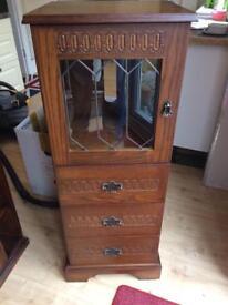 Small wooden HI FI cabinet .