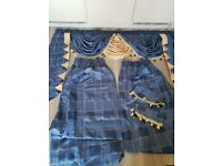 navy blue/gold Satin Luxury Curtains - with matching tie back and pelmet 56'' x 62''