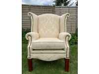 Lovely Manor High Wingback Fabric Armchair - Studs– Great Condition