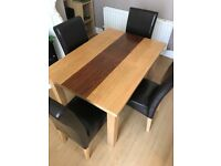 Two tone table & 4 chairs