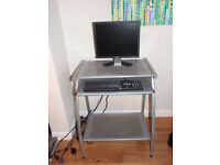 computer ,table moniter and keyboard