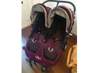 Baby Jogger, City Mini Double Pram / Pushchair / Buggie (Purple & Gray)