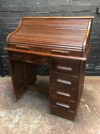 Fabulous antique oak roll top desk in lovely condition