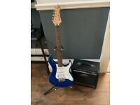 Yamaha Pacifica Electric Guitar Metallic Blue and Peavey Rage 158 Amp