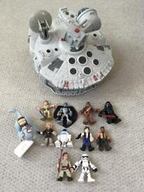 Star Wars Playskool millennium Falcon galactic heroes play set with lots of character figures