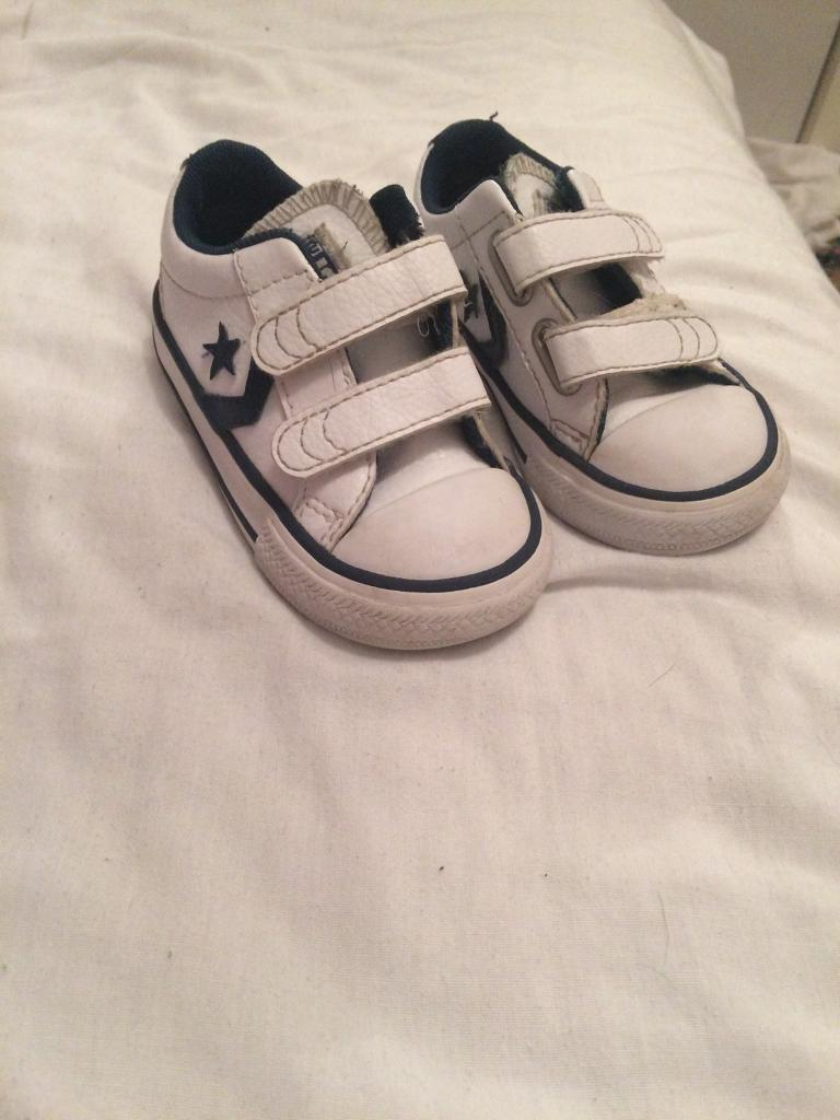 White leather Velcro converse toddler size 5