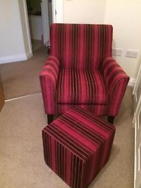 Arm chair and matching footstool