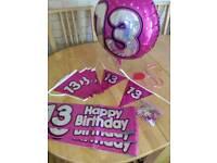 13th Birthday display items