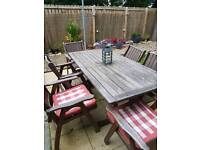 Solid wood table and 6 cushions 6 chairs patio set