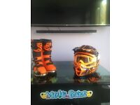 Fly boots and helmet