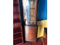 Glass & mahogany corner unit