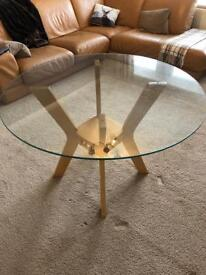 Round glass and oak 4 person dining table
