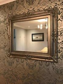 Large antique silver/pewter mirror