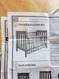 Kingparrot Junior cot bed - instructions and all parts in great condition