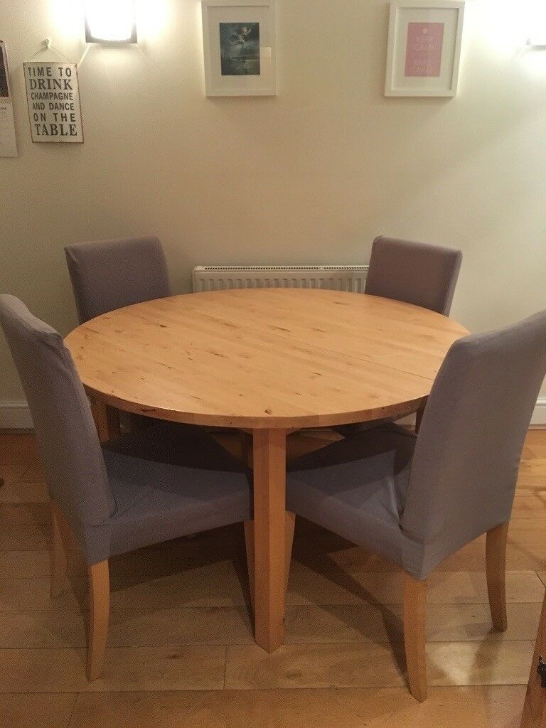 Ikea Extendable Wooden Dining Table With 4 Comfy Chairs Extends From 6 Seater