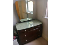 Vintage glass-topped dressing table with mirror