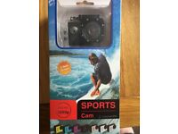 Waterproof action camera - HD, boxed with accessories and 32GB micro sd