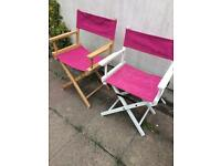 Pink wooden chairs garden