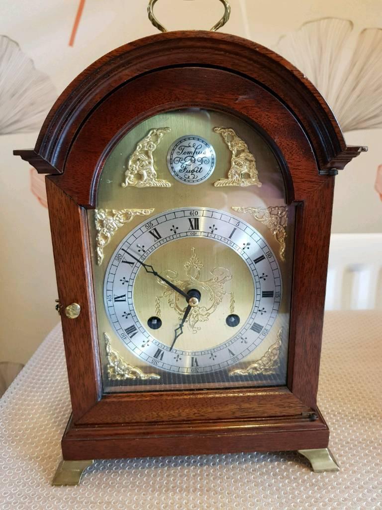 Dark Wooden Cased Mantle Clock Comitti Of London In