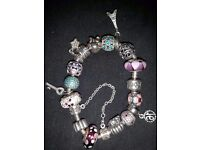 PANDORA CHARM BRACELET WITH 15 CHARMS AND 2 DIVIDING Clips
