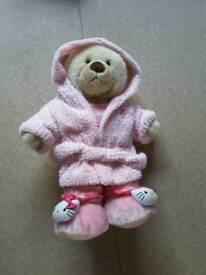 BUILD A BEAR - WHITE BEAR IN PINK HELLO KITTY BED CLOTHES - EX.COND