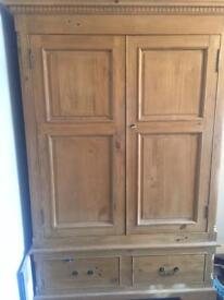 Antique pine carved double classy wardrobe