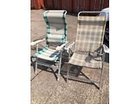 2x aluminium light weight reclinable Chairs