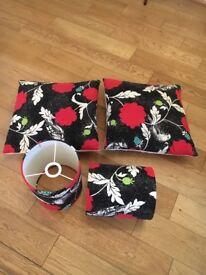 2 x matching lampshades and cushions