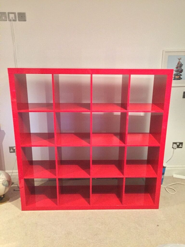 Ikea Kallax 4x4 High Gloss Red Shelving Unit In Wilmslow