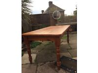 Rustic pine dining table seats 6-8