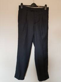 Mens NEXT Blazer & Trouser Suit. Navy Blue Pinstripped Jacket 40R Trousers 32R