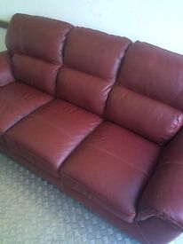 Beautiful Red Real Leather 3 Seat Sofa. Excellent As New Condition. Can Deliver.