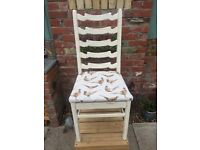 ** GORGEOUS ONE-OFF RESTORED DINING CHAIR PHEASANT PATTERN ANTIQUE WHITE CHALK PAINT