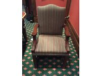 10 Dining Chairs by Englender Furniture Manufacturer in dark green brocade. 2 Carvers, 8 chairs