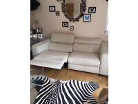 Pair Natuzzi Cream Leather sofas