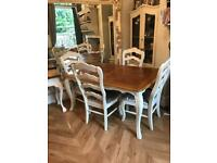French style dinning table and 4 chairs