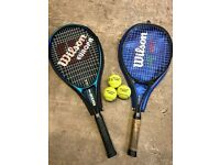 2 x Wilson Europa Tennis Rackets (1 excellent, 1 worn) + 3 Dunlop tennis balls - £10 for the lot