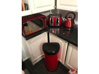 4 item kitchen wear kettle toaster microwave and bin