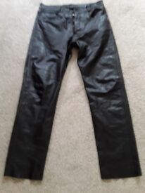 """Black leather trousers 36"""" waist."""