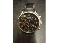 Gents WENGER Swiss Military chrono watch in blue & grey, black leather strap with box