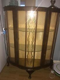 Vintage bow fronted display cabinet