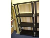 BLACK AND GREY HARD PLASTIC SHELVES 4 TIER EASY ASSEMBLY CAN BE REDUCED IN SIZE