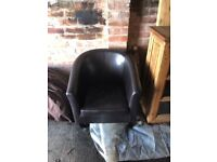 Brown Faux Leather Bucket Chair