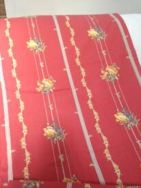 Curtains 2 pairs - Salmon Red and floral pattern - Laura Ashley Fabric - inc linings