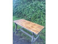 Beautiful Handmade Reclaimed Pine Top and Oak Leg Dining Table